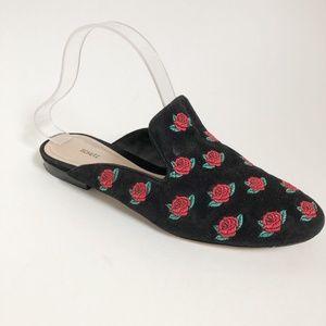 Schutz Black Ivanna Rose Pointed Toe Mules